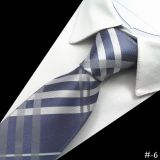 Classic Strips Standard Length Silk Woven Neckties Plain Silver