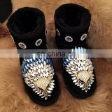Aidocrystal Sparkle bling bling fur Black women ankle snow boots good winter shoes for women
