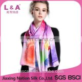 2017 lady silk satin long scarf for gift