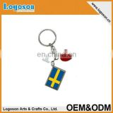 2016 popular souvenirs custom design flag of Sweden I heart love keychain