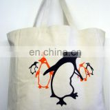 penguins pattern 100% cotton handle shopping bag