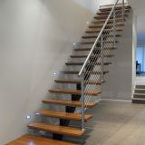 Carbon steel beam wooden staircase for indoor