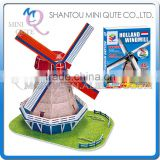Mini Qute Dutch Windmill building block world architecture 3d paper diy model cardboard jigsaw puzzle educational toy NO.G268-29