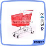 Supermarket plastic shopping trolley with coin lock
