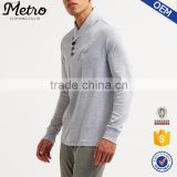 Classic wholesale simple mens plain grey lightweight cotton standing collar sweatshirts without hood