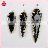 3.5~4.5 Inch Large long gold electroplated black obsidian arrowhead pendants jasper arrow head pendants