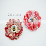 Flag day lace rhinestone flower decorate- holiday lace pearl flower wholesale