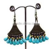 0006 HANDMADE JEWELRY Set Dangle TURQUOISE STONE Brass Stitch Beaded Woven Earrings from THAILAND