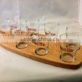 new design Beer Tasting Flight Set with Paddle for 8 Mini Glasses Beer Tasting Serving Paddle                                                                         Quality Choice