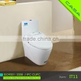 Vitreous china power support intelligent E-toilet bidet attached to toilet