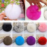 Cute Genuine Rabbit Fur Ball Pom Pom Key Chain Car Handbag Charm Key Chain                                                                         Quality Choice