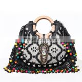 Ethnic Style Wood Bead Strap Multi-color Stripes Cloth Tote Shoulder Bag Handbag                                                                         Quality Choice