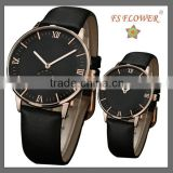 FS FLOWER - Classic Sapphire Crystal Genuine Leather Couple Wrist Watch Japan Movt Quartz Watch Stainless Steel Sack