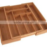 Bamboo Large Expandable Cutlery Tray and Drawer Organizer
