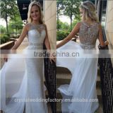 Fashion Straight Sequins Prom Dresses 2016 Custom Beaded Crystal Scoop Neck Floor Length White Formal Evening Gowns CWF2313