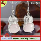 Charm Silver Plated Rose Quartz Stone Crystal Round Beads Owl Shape Dangle Crystal Earrings For Women