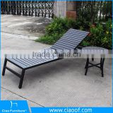 Aluminum Frame Beach Bed Wood / Wooden Sun Lounger / Teak Sun Lounger