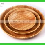Custom round wood plate Round wood serving tray Round wooden service plate