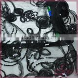 Black lace ribbon coiling embroidery design mesh, elegant sequin fabric for dress