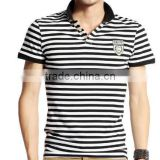 2013 the latest design of men's polo shirt yarn dye stripe with embroidery, black and white stripe sell polo shirts