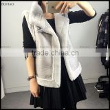 Hot Sale Motorcycle Jacket Fur Fake Rabbit Fur Vest With Leather