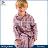 OEM Factory 2015 Long Sleeve Organic Kids Pajamas, Boys Botton Plaid 2 Pieces Children 100% Cotton Pyjamas