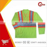 Fluorescent Yellow Long Sleeves Reflective Tape T-shirt