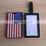USA country silicone rubber bag tag tourism soft pvc luggage tag holder