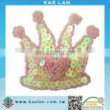 Custom sequin crown embroidery patch for garment