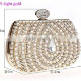 0991 light-gold ladies pearls clutch wedding evening handbag beads and stones clutches bag