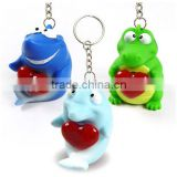 Custom animal keychain squeeze ,OEM pvc squeeze keychain animal,3D Cartoon eyes pop out keychain