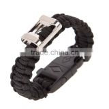 New design outdoor survival Handmade High Quality Useful Black survival cord bottle opener paracord bracelet