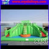 inflatable frog water slide with big pool,inflatable water slide with ball pit pool