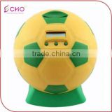 CHINA custom plastic coin football money bank,OEM kis factory make plastic electronic and digital football shape money banks