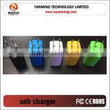 White Color Foldable Pin USB Charger Adapter, Factory 2A Mobile Phone 2 Socket Wall Charger