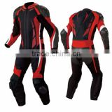 Leather Motor Bike Racing Suit Black Red Contrast