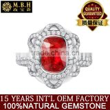 guangzhou factory jewellery gold fashionable18k gold inlay diamond red natual gemstone ruby ring for women precious gold jewelry