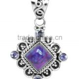 925 Sterling Silver Purple Tuquoise & Amethyst High Ethnic Pendant NEW WHOLESALE ITEM Jewellery