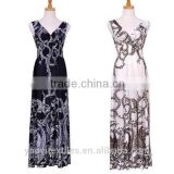 printed polyester summer maxi dresses for women
