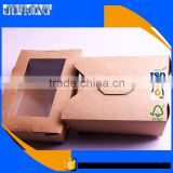 FDA approved Food grade kraft paper Disposable Wholesale snack salad box with Anti-fog PET window
