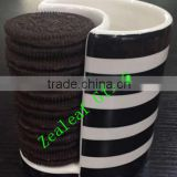 Ceramic mug oreo cup with biscuit holder