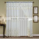 2pcs voile emboridery living room curtains with taffeta backing and tie backs