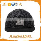 custom print 5 panel leather strap back hats with metal buckle