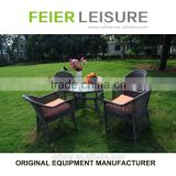 FEIER A6001CH 4 Seats Wicker Outdoor Chair Rattan Table and Chair Set