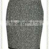 fashion clothing manufacturer yarn dyed tight fitting hem beaded center back vent buttoned back girls sexy short skirt