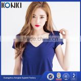 Lady's v neck curved hem cotton tee shirt blue color customized bulk wholesale printing Tee shirt