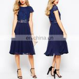 Korean Style Crop Top Midi Dress Ladies New Model Fashion Lace Party Dress in Blue