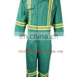 88%cotton 12%nylon mens green flame retardant fireproof material thermal insulation resistance coverall cloth