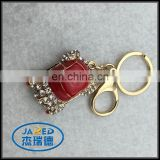 Custom Diamante Red Car Keychain Set drill Gold Chain Keyring
