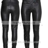 OEM plus size clothing 2015 new arrival black long leather pants for women